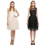 See-through A-line Pure Color Women Lace Dress photo