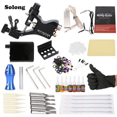 Solong Complete Tattoo Kit Professional Machine Gun 7 Inks Power Supply Needle Grips