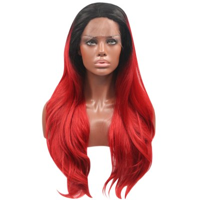 Ombre Gradient Colors Natural Wavy Synthetic Lace Front Wigs
