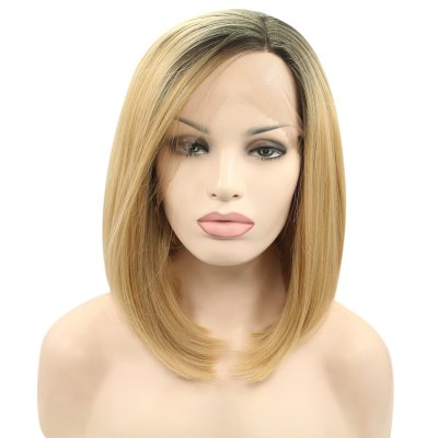 Ombre Bob Gradient Dark Root Straight Synthetic Lace Front Wigs