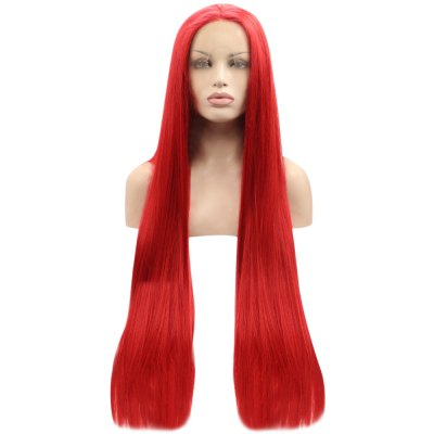 Red Straight Synthetic Lace Front Wigs