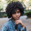 AISIHAIR Short Fluffy Black Afro Curly Synthetic Wigs photo