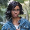 Buy AISIHAIR Side Bangs Curly Tail Asymmetrical Straight Wigs BLACK