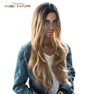 AISIHAIR Long Middle Parting Natural Straight Gradient Brown Wigs