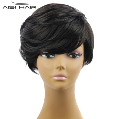 AISIHAIR Short Slightly Curly Black Synthetic Wigs