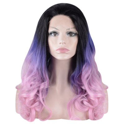 Women Harajuku Long Colorful Wavy Side Parting Synthetic Lace Front Wigs