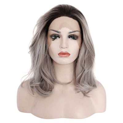 Medium Gradient Wavy Lob Synthetic Lace Front Wigs