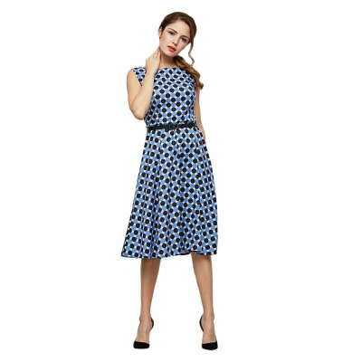 Trendy Allover Dot Print A-line Dress with Belt for Ladies