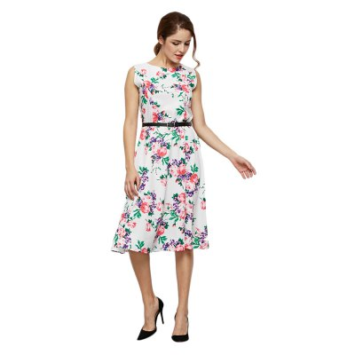 Round Collar Sleeveless Allover Floral Print Women Dress with Belt