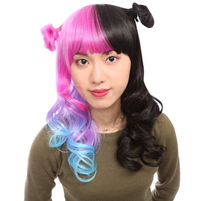 Classic Long Black Blue Pink Gradient Curly Wavy Wigs