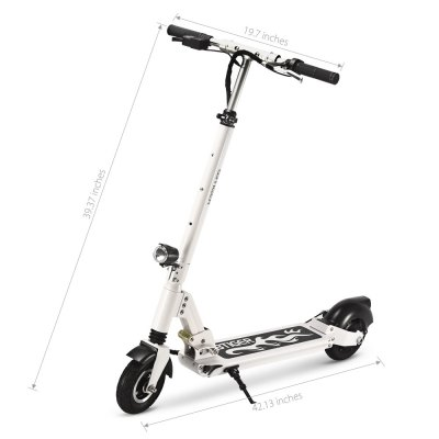 GBtiger A3 Electric Scooter Two-wheel Folding Board with LampScooters and Wheels<br>GBtiger A3 Electric Scooter Two-wheel Folding Board with Lamp<br><br>Applicable People: Unisex<br>Category: Two-wheel Scooter<br>Foldable: Yes<br>Package Contents: 1 x Scooter, 1 x English User Manual, 3 x Spanner, 1 x Power Adapter, 1 x Power Cable<br>Package Size(L x W x H): 111.00 x 23.00 x 44.00 cm / 43.7 x 9.06 x 17.32 inches<br>Package weight: 19.620 kg<br>Product Size(L x W x H): 107.00 x 50.05 x 100.00 cm / 42.13 x 19.7 x 39.37 inches<br>Product weight: 16.100 kg