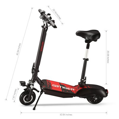 GBtiger A2 Electric Scooter Two-wheel Folding Board with SeatScooters and Wheels<br>GBtiger A2 Electric Scooter Two-wheel Folding Board with Seat<br><br>Applicable People: Unisex<br>Category: Two-wheel Scooter<br>Foldable: Yes<br>Package Contents: 1 x Scooter, 4 x Spanner, 1 x Power Adapter, 1 x Power Cable, 1 x English User Manual<br>Package Size(L x W x H): 108.90 x 27.80 x 56.00 cm / 42.87 x 10.94 x 22.05 inches<br>Package weight: 20.6700 kg<br>Product Size(L x W x H): 104.00 x 57.00 x 104.00 cm / 40.94 x 22.44 x 40.94 inches<br>Product weight: 16.8500 kg