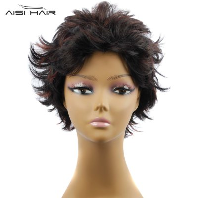 AISIHAIR Short Slightly Curly Black and Coffee Synthetic Wigs