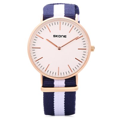 SKONE 6165G Men Quartz WatchMens Watches<br>SKONE 6165G Men Quartz Watch<br><br>Band Length: 9.84 inch<br>Band Material Type: Nylon<br>Band Width: 20mm<br>Case material: Alloy<br>Case Shape: Round<br>Clasp type: Pin Buckle<br>Dial Diameter: 1.54 inch<br>Dial Display: Analog<br>Dial Window Material Type: Hardlex<br>Gender: Men<br>Movement: Quartz<br>Package Contents: 1 x Watch<br>Package Size(L x W x H): 10.00 x 7.50 x 6.50 cm / 3.94 x 2.95 x 2.56 inches<br>Package weight: 0.123 kg<br>Product Size(L x W x H): 25.00 x 4.20 x 0.70 cm / 9.84 x 1.65 x 0.28 inches<br>Product weight: 0.038 kg<br>Style: Fashion &amp; Casual