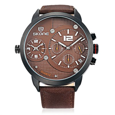 SKONE 6164EG Men Dual Quartz WatchMens Watches<br>SKONE 6164EG Men Dual Quartz Watch<br><br>Band Length: 8.07 inch<br>Band Material Type: Leather<br>Band Width: 22mm<br>Case material: Alloy<br>Case Shape: Round<br>Clasp type: Pin Buckle<br>Dial Diameter: 2.07 inch<br>Dial Display: Analog<br>Dial Window Material Type: Hardlex<br>Feature: Luminous, Date<br>Gender: Men<br>Movement: Quartz<br>Package Contents: 1 x Watch<br>Package Size(L x W x H): 27.00 x 6.50 x 2.00 cm / 10.63 x 2.56 x 0.79 inches<br>Package weight: 0.095 kg<br>Product Size(L x W x H): 26.00 x 5.50 x 1.00 cm / 10.24 x 2.17 x 0.39 inches<br>Product weight: 0.074 kg<br>Style: Business<br>Water Resistance Depth: 30m