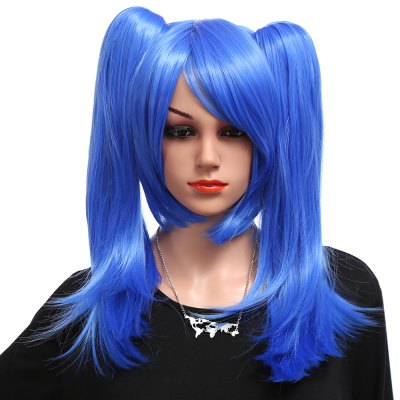 Short Deep Blue Straight Wigs with 2 Ponytails Cosplay