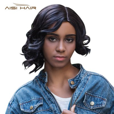 AISIHAIR Side Bangs Curly Tail Asymmetrical Straight Wigs