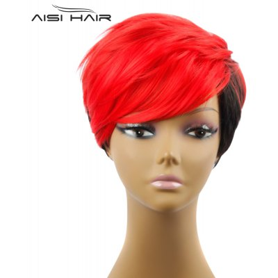 AISIHAIR Women Short Gradient Color Straight Synthetic Wigs