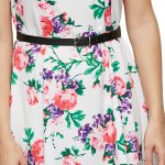 Elegant Sleeveless Allover Floral Print Dress with Belt for sale
