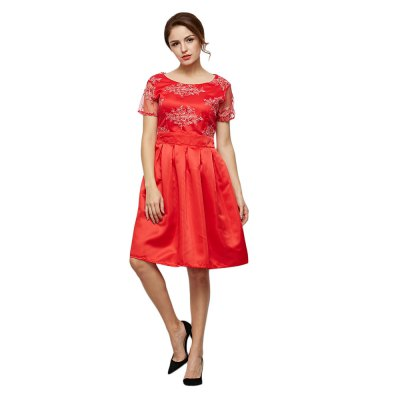 Short Sleeve Floral Print Lace Spliced Women Dress