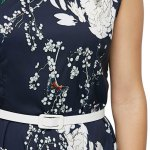 Chic Round Collar Sleeveless Print Dress with Belt for sale