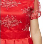 Short Sleeve Floral Print Lace Spliced Women Dress for sale