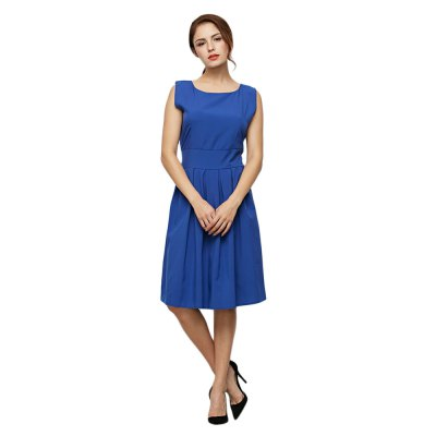 Old Classical Style Round Collar Sleeveless Pure Color Dress