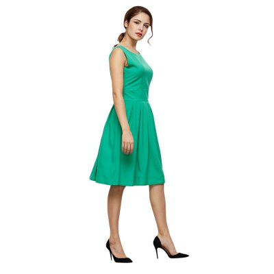 Retro Style Round Collar Sleeveless Pure Color Dress