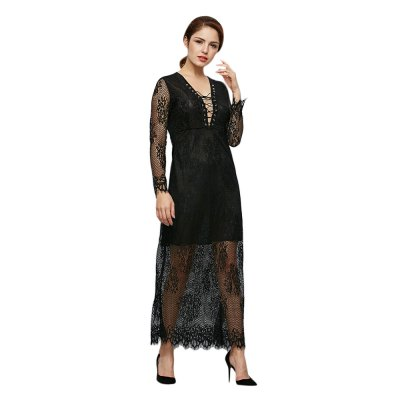 Plunging See-through Sleeve Criss-cross Pure Color Lace Spliced Women Dress