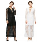 Criss-cross Pure Color Lace Spliced Dress for Ladies photo