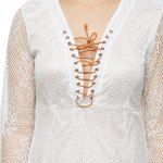 best Criss-cross Pure Color Lace Spliced Dress for Ladies