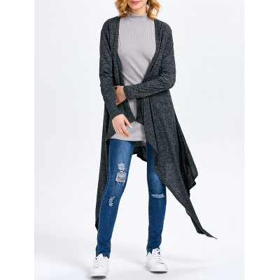 Long Sleeve Collarless Hollow Asymmetrical Cardigan for Women