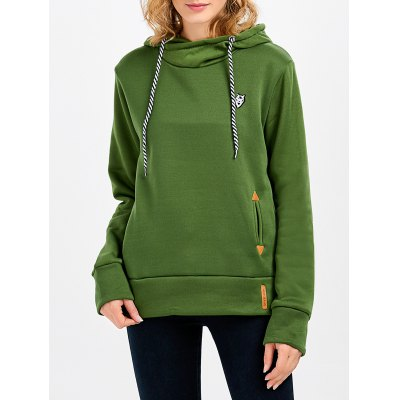 Long Sleeve Pocket Design Women Green Hoodie
