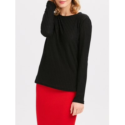 Long Sleeve Round Collar Criss Cross Bandage Sweater for Women
