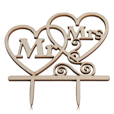 Wooden Mr Mrs Wedding Cake Inserted Card Decoration