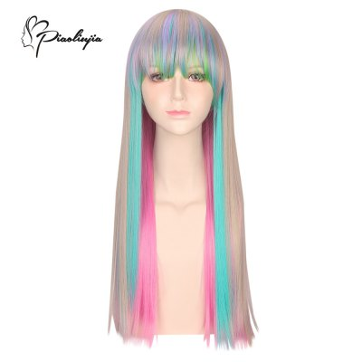 Piaoliujia Harajuku Long Full Bangs Colorful Synthetic Wig