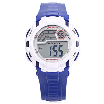 MINGRUI MR - 8562033 Children Digital LED WatchKids Watches<br>MINGRUI MR - 8562033 Children Digital LED Watch<br><br>Band Length: 7.09 inch<br>Band Material Type: Silicone<br>Band Width: 18mm<br>Case material: Plastic<br>Case Shape: Round<br>Clasp type: Pin Buckle<br>Dial Diameter: 1.5 inch<br>Dial Display: Digital<br>Dial Window Material Type: Plastic<br>Feature: Luminous, Led Display, Day, Date, Chronograph, Alarm<br>Gender: Children<br>Movement: Digital<br>Package Contents: 1 x Watch<br>Package Size(L x W x H): 7.50 x 7.50 x 7.50 cm / 2.95 x 2.95 x 2.95 inches<br>Package weight: 0.100 kg<br>Product Size(L x W x H): 22.00 x 3.80 x 1.20 cm / 8.66 x 1.5 x 0.47 inches<br>Product weight: 0.028 kg<br>Style: Sport<br>Water Resistance Depth: 30m
