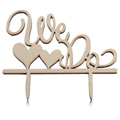 Wooden We Do Wedding Cake Inserted Card Decoration
