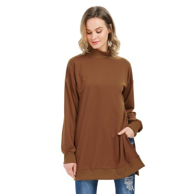 Long Sleeve Turtleneck Slit Design Women Brown Sweatshirt