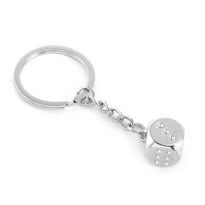 Zinc Alloy Dice Keychain Car Key Ornament
