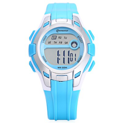 MINGRUI MR - 8561112 Kids Digital WatchKids Watches<br>MINGRUI MR - 8561112 Kids Digital Watch<br><br>Band Length: 7.87 inch<br>Band Material Type: Silicone<br>Band Width: 18mm<br>Case material: Plastic<br>Case Shape: Round<br>Clasp type: Pin Buckle<br>Dial Diameter: 1.5 inch<br>Dial Display: Digital<br>Dial Window Material Type: Plastic<br>Feature: Luminous, Led Display, Day, Date, Chronograph, Alarm<br>Gender: Children<br>Movement: Digital<br>Package Contents: 1 x Watch<br>Package Size(L x W x H): 7.50 x 7.50 x 7.50 cm / 2.95 x 2.95 x 2.95 inches<br>Package weight: 0.101 kg<br>Product Size(L x W x H): 22.50 x 3.80 x 1.20 cm / 8.86 x 1.5 x 0.47 inches<br>Product weight: 0.029 kg<br>Style: Sport<br>Water Resistance Depth: 30m