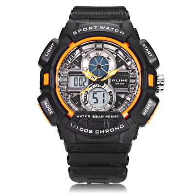 ALIKE AK16127 Dual Movt Sport WatchLED Watches<br>ALIKE AK16127 Dual Movt Sport Watch<br><br>Band Length: 8.27 inch<br>Band Material Type: Rubber<br>Band Width: 22mm<br>Case material: Plastic<br>Case Shape: Round<br>Clasp type: Pin Buckle<br>Dial Diameter: 1.77 inch<br>Dial Display: Analog-Digital<br>Dial Window Material Type: Hardlex<br>Feature: Luminous, Led Display, Day, Date, Chronograph, Alarm<br>Gender: Men<br>Movement: Digital,Quartz<br>Package Contents: 1 x Watch<br>Package Size(L x W x H): 8.00 x 8.00 x 8.00 cm / 3.15 x 3.15 x 3.15 inches<br>Package weight: 0.169 kg<br>Product Size(L x W x H): 25.50 x 5.50 x 1.50 cm / 10.04 x 2.17 x 0.59 inches<br>Product weight: 0.064 kg<br>Style: Sport<br>Water Resistance Depth: 50m