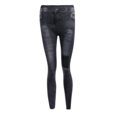 Mid Waist Patched Skinny Jeans for Women