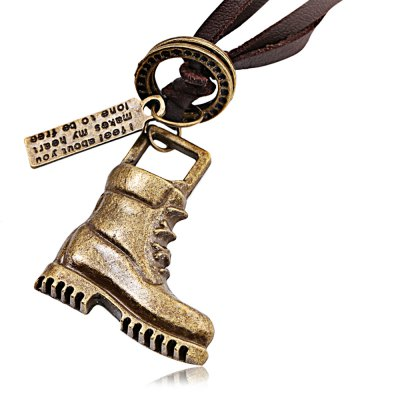 Boots Unisex Leather Necklace