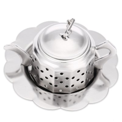 Stainless Steel Teapot Shape Mesh Tea InfuserOther Cooking Tools<br>Stainless Steel Teapot Shape Mesh Tea Infuser<br><br>Material: Stainless Steel<br>Package Contents: 1 x Tea Infuser Strainer Filter with Tray Chain<br>Package Size(L x W x H): 8.00 x 7.00 x 4.00 cm / 3.15 x 2.76 x 1.57 inches<br>Package weight: 0.051 kg<br>Product weight: 0.030 kg