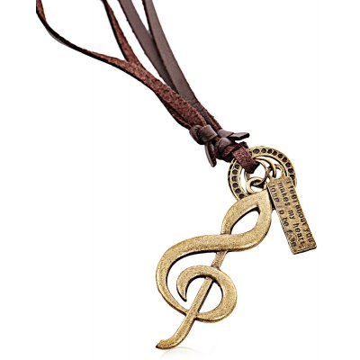 Note Unisex Leather Necklace