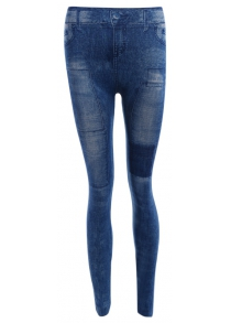 Mid Waist Patched Skinny Jeans