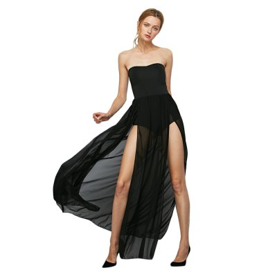 Sleeveless Strapless High Slit Chiffon Women Dress
