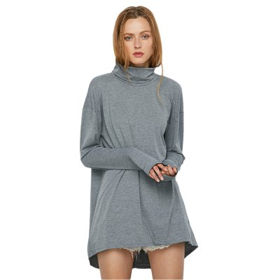 Long Sleeve Stand Collar Slit Design Knitwear for Women