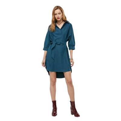 Half Sleeve Turn-down Collar Belted Women Shirt Dress